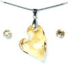 Kép 1/7 - Swarovski kristályos ékszerszett - Ferde Szív 17 mm, Golden Shadow - díszdoboz-Katica Online Piac