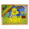 Kép 2/2 - Fa mesekocka, 12 darabos, állatos, 16x13 cm-Katica Online Piac