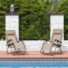 Kép 2/5 - Zéró gravitáció kerti szék ajándék pohártartóval, 2 db-bézs-Katica Online Piac