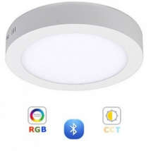 RGB-CCT LED panel ,12W-falon kívüli -kerek -dimmelhető -  Bluetooth -LEDISSIMO SMART