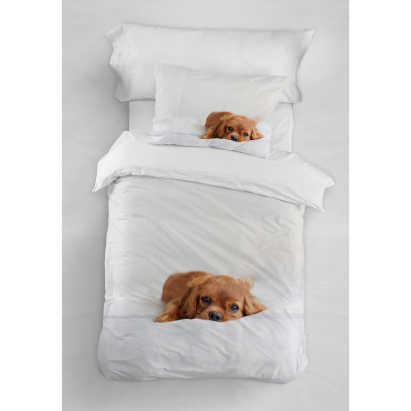 PUPPY Egyszemélyes ágyneműhuzat fehér alapon barna kutyus mintával 140*200 cm + 70*90 cm párnahuzat-Katica Online Piac