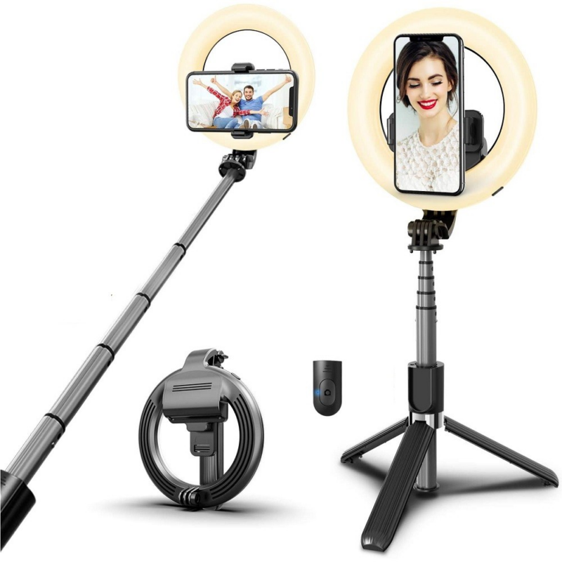 Prémium selfie bot, 19 - 90 cm, 360°-ban forgatható, exponáló gombbal, v4.0, bluetooth-os, tripod állvány funkció, világítással, fekete-Katica Online Piac