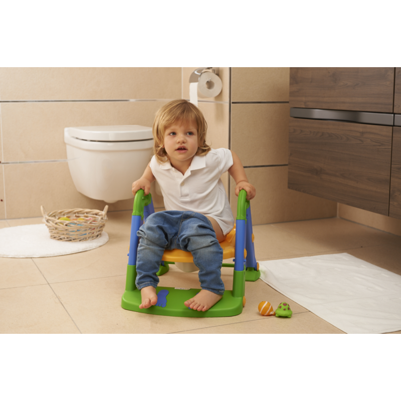 KidsKit WC fellépő lépcső, bili és szűkítő, 3 az 1-ben, kék-narancs-zöld-Katica Online Piac
