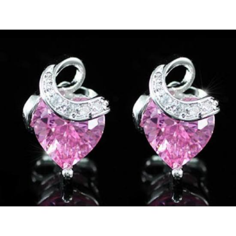 Exclusive Swarovski kristályos szett -szív alakú rózsaszín kővel-Díszdobozban-Katica Online Piac