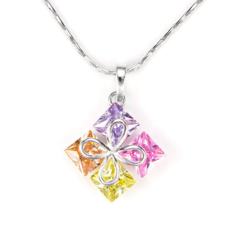 Swarovski kristályos nyaklánc szines kövekkel-Katica Online Piac