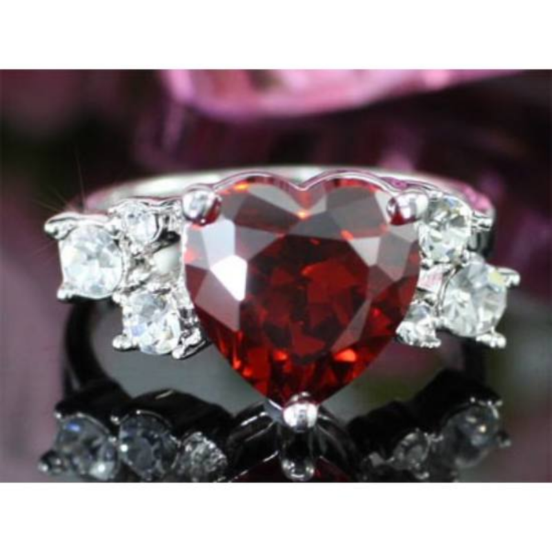 Swarovski kristályos piros szíves gyűrű-7-Katica Online Piac