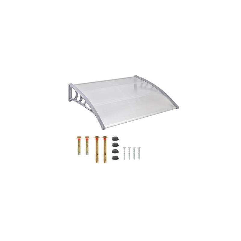 Műanyag előtető 240 x 90 cm, dupla, transzparens, fehér színű fali tartóelemekkel-Katica Online Piac