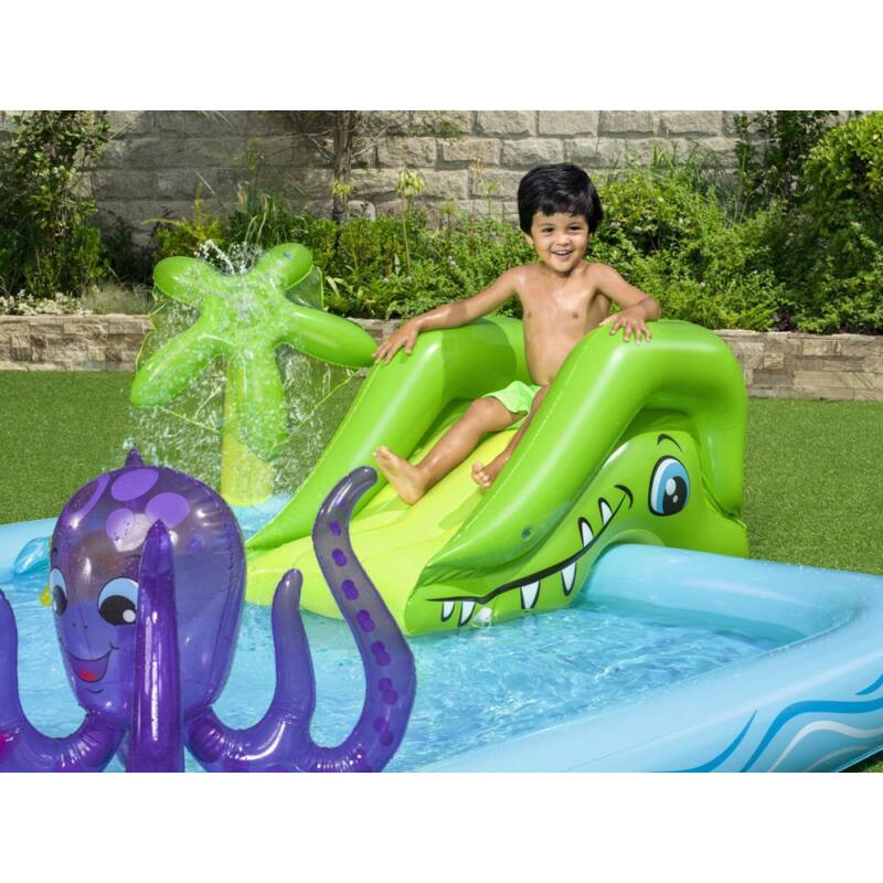 Tengeri vízi játszótér csúszdával és felfújhatós állátokkal-Katica Online Piac