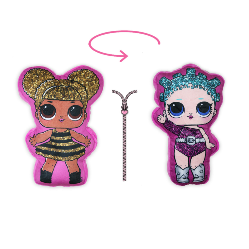 Kifordítható LOL Baba játékpárna kislányoknak - kettő az egyben párna - pink-pink-Katica Online Piac