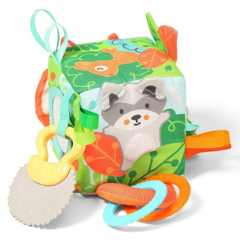 BabyOno kocka Friendly Forest puha készségfejlesztő 9x9x9cm 548-Katica Online Piac