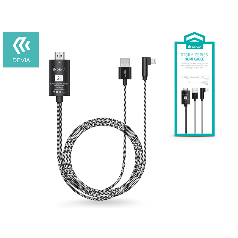 Apple iPhone 5/5S/5C/SE/iPad 4/iPad Mini Lightning + USB + HDMI kábel 2 m-es vezetékkel - Devia Storm Series HDMI Cable - black-Katica Online Piac
